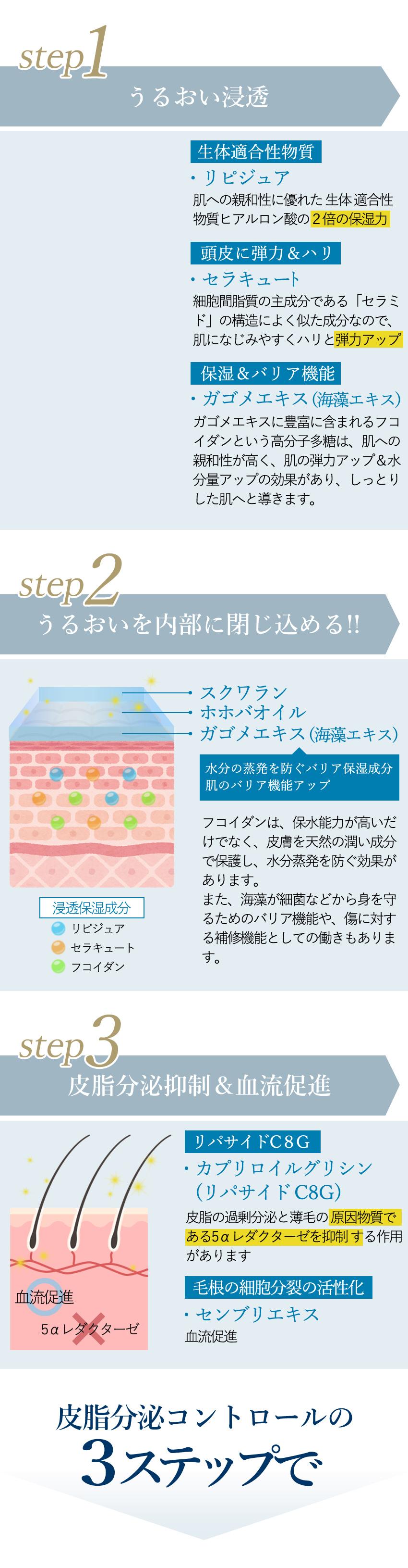 皮脂分泌コントロールの3ステップ